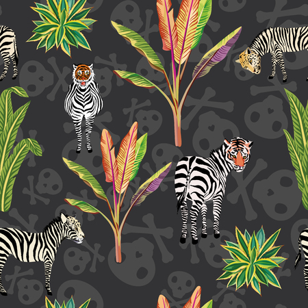 Abstract idea animal predator tiger, leopard face zebra horse on the black skull background seamless vector pattern Illustration