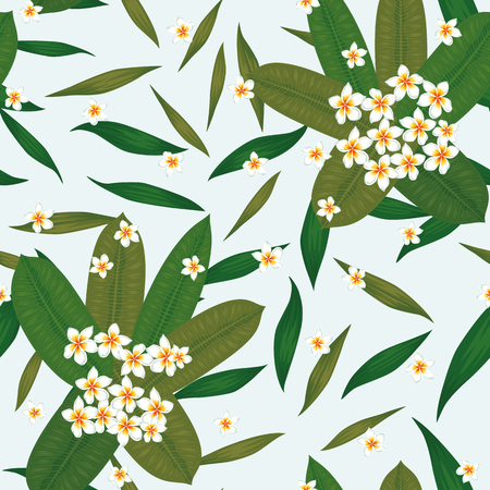 Exotic tropical flowers plumeria (frangipani) bouquet with leaves. Seamless realistic vector on the white background. Fabric pattern wallpaper