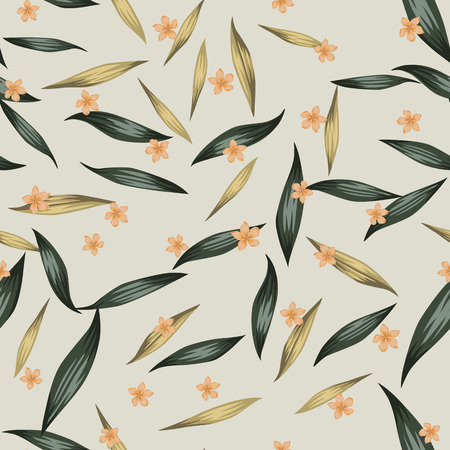 Summer color seamless vector pattern orange flowers plumeria (frangipani) and green, gold tropical realistic leaves on the beige background. Trendy design fabric