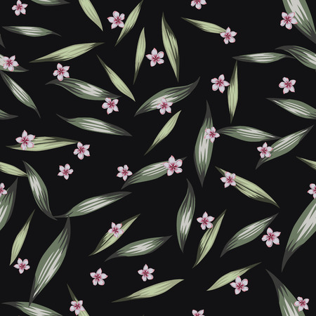Green color seamless vector pattern pink flowers plumeria (frangipani) and green tropical realistic leaves on the black background. Trendy design fabric