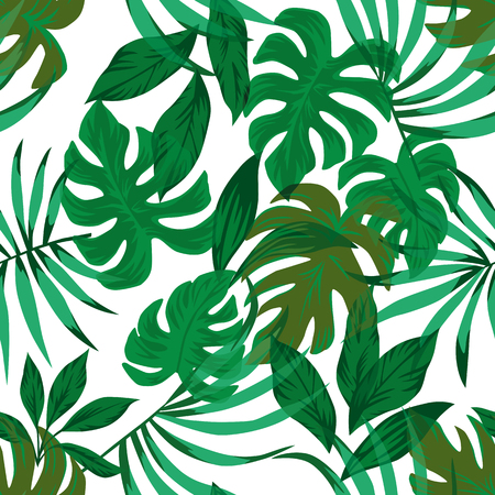 Tropical green palm, monstera leaves seamless vector pattern on the white background Stock Illustratie