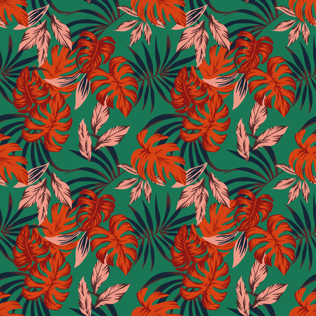 Vivid abstract color tropical leaves monstera. Fabric seamless pattern on the mint background Stockfoto - 122038785
