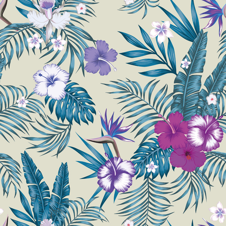 Tropical jungle blue tint with palm, banana leaves and hibiscus, plumeria, bird of paradise flowers seamless vector botanical pattern on the beige background