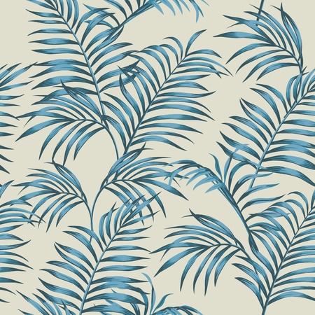 Tropical composition blue tint with palm leaves seamless vector botanical pattern on the beige background