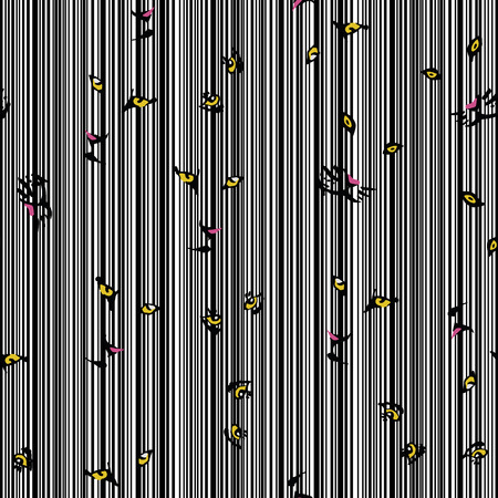Seamless composition from yellow eyes of wild cats on the stripe black white background. Vector design pattern