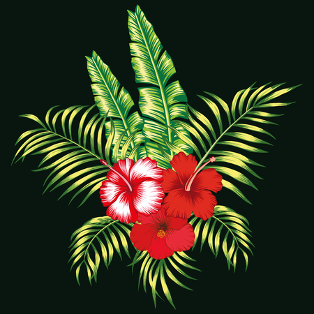 Exotic trendy composition from tropical flowers hibiscus and palm, banana leaves on the black background Stockfoto - 122038790