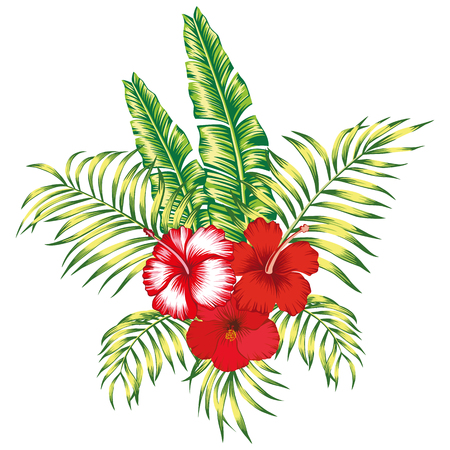 Exotic trendy composition from tropical flowers hibiscus and palm, banana leaves on the white background