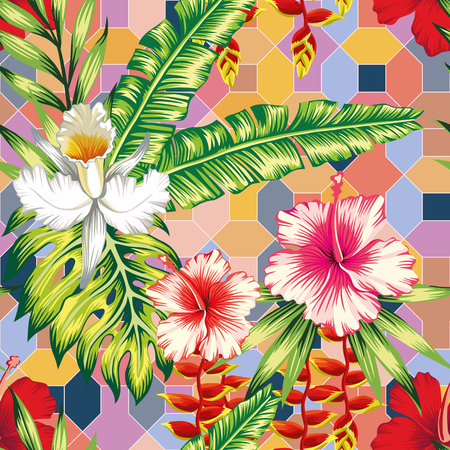 Exotic botanical composition from hibiscus, orchid flowers and palm, banana, monstera leaves on the positive energy tint color seamless geometrical background. Joyful summer pattern