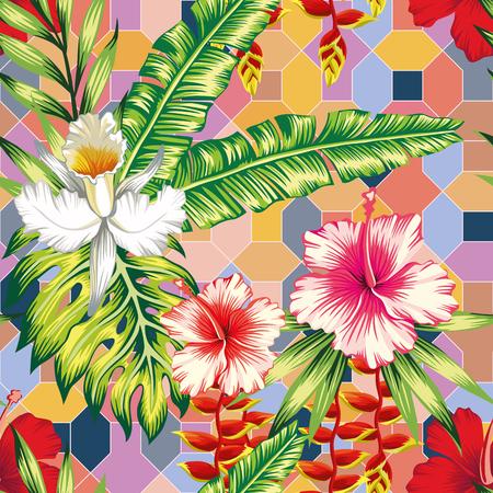 Exotische botanische Komposition aus Hibiskus, Orchideenblüten und Palmen, Bananen, Monstera-Blättern auf dem nahtlosen geometrischen Hintergrund der positiven Energietönung. Fröhliches Sommermuster