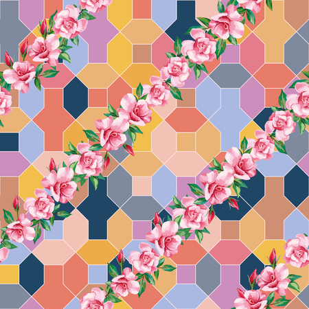 Trendy botanical composition from rose flowers on the positive energy tint color seamless geometrical background. Joyful summer pattern