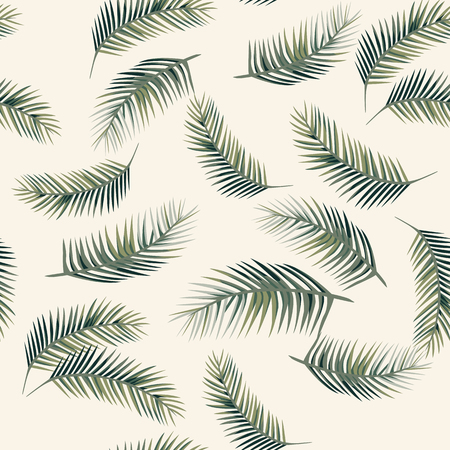 Green vector palm leaves. Seamless design pattern on the beige background