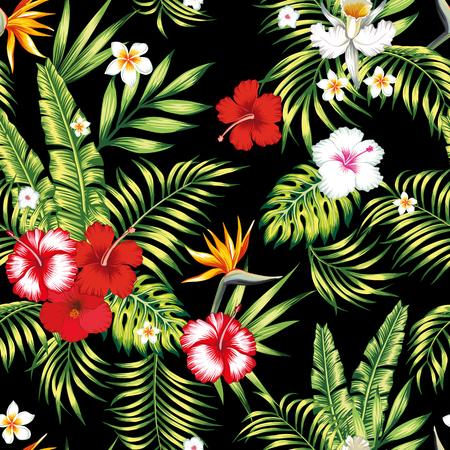 Modello botanico di vettore realistico senza cuciture di bellezza da ibisco, plumeria, orchidea, uccello del paradiso fiori e palme, banana, foglie di monstera sullo sfondo nero