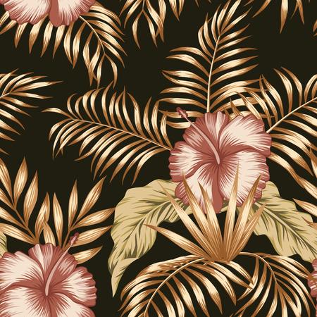 Egzotyczna modna bezszwowa kompozycja z tropikalnych kwiatów hibiskusa i palmy, liście bananowca złoty odcień na czarnym tle