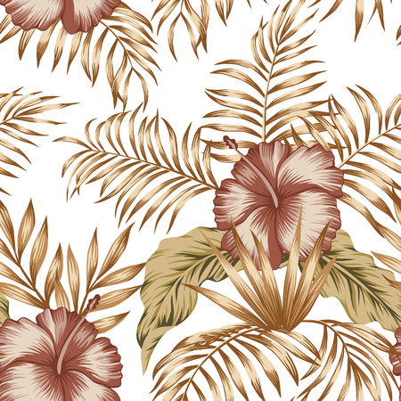 Exotic trendy seamless composition from tropical flowers hibiscus and palm, banana leaves gold tint on the white background