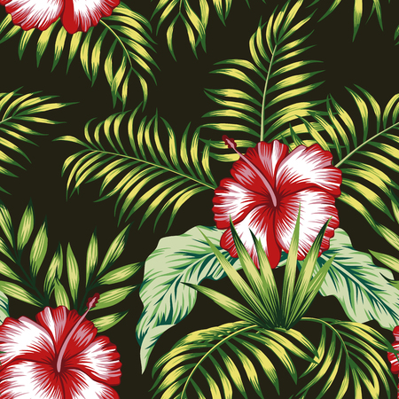 Exotic trendy seamless composition from tropical flowers red hibiscus and green palm, banana leaves on the black background