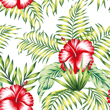 Exotic trendy seamless composition from tropical flowers red hibiscus and green palm, banana leaves on the white background Stock Illustratie