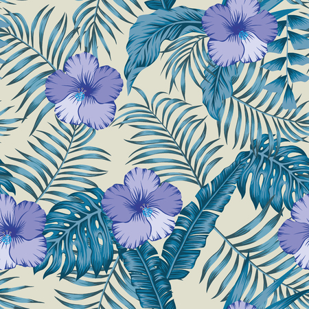 Tropical jungle blue tint with palm, banana leaves and hibiscus flowers seamless vector botanical pattern on the beige background Ilustrace