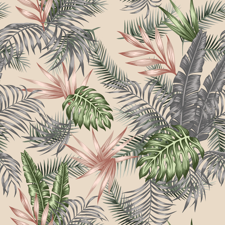 Multicolor tropical palm, banana, monstera leaves seamless vector botanical pattern on the beige background