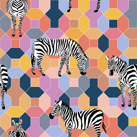 Wild horse zebra on the positive energy tint color, multicolor tile geometrical background