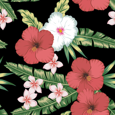 Tropical flowers red white hibiscus and plumeria (frangipani) on the green palm leaves seamless black background. Botanical vector pattern