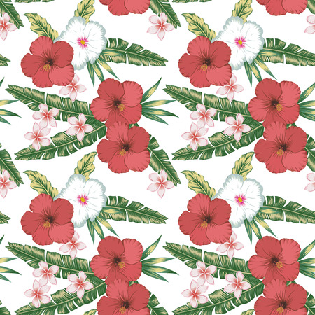 Tropical exotic tender lovely flowers red and white hibiscus vintage color plumeria (frangipani), green palm leaves floral summer seamless vector pattern illustration on the white background. Stockfoto - 122038806