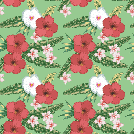 Beach cheerful wallpaper red, white hibiscus and plumeria (frangipani) tropical palm leaves seamless vector pattern on the green background Stock Illustratie
