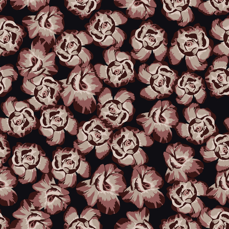 Seamless pattern flat vector chinese rose flowers on the black background Stockfoto - 122038808