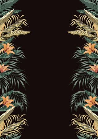 Botanical border A4 layout from tropical leaves and flowers on the black background