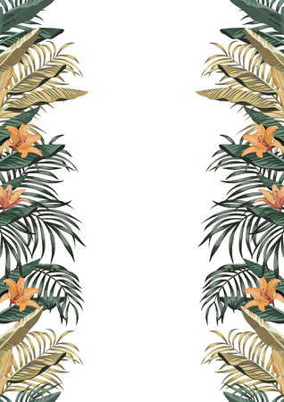 Botanical border A4 layout from tropical leaves and flowers on the white background