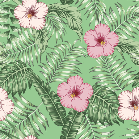 Tropical flowers pink and brown hibiscus on the green palm banana leaves seamless vector pattern. Exotic botanical background Stockfoto - 122038811