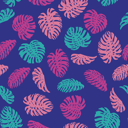 Colorful abstract color tropical leaves monstera seamless vector pattern on the blue background. Fresh contemporary composition