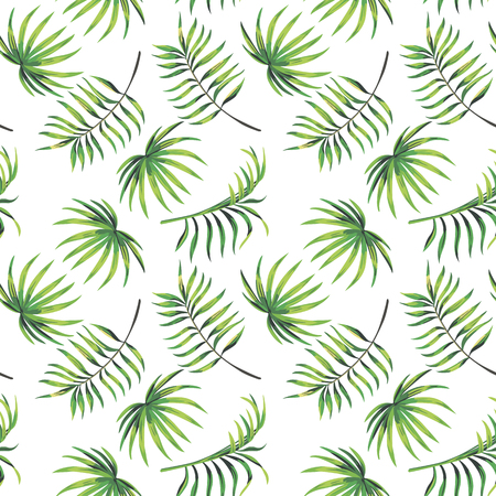 Branch with green leaves seamless pattern on the white background. Vector illustration botanical wallpaper