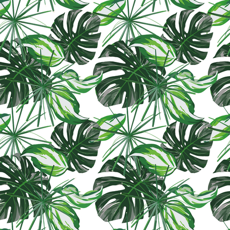 Green tropical leaves seamless composition on the white background. Vector pattern wallpaper Stock Illustratie
