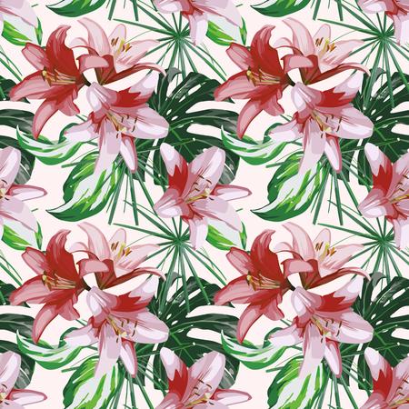 Flores de lirio y hojas tropicales verdes diseño sin costuras sobre fondo blanco. Ilustración de vector