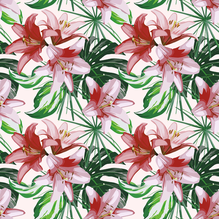 Lily flowers and green tropical leaves seamless design on the white background.