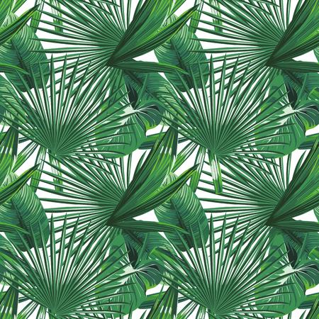 Modern green tropical leaves seamless design on the white background. Vector pattern illustration botanical wallpaper. Stock Illustratie