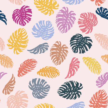 Vivid abstract color tropical leaves monstera seamless vector pattern on the pink background. Fresh contemporary composition Illustration