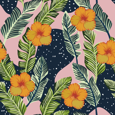 Botanical composition from tropical green banana leaves and yellow hibiscus flowers. Vector seamless pattern on the abstract black pink backgorund