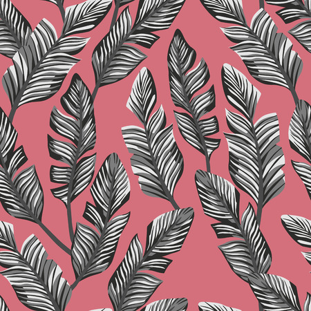 Exotic abstract composition from tropical black white banana leaves. Vector seamless pattern on the pink backgorund