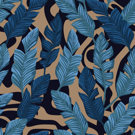 Abstract tropical blue banana leaves composition. Vector seamless pattern on the black and beige backgorund Stock Illustratie
