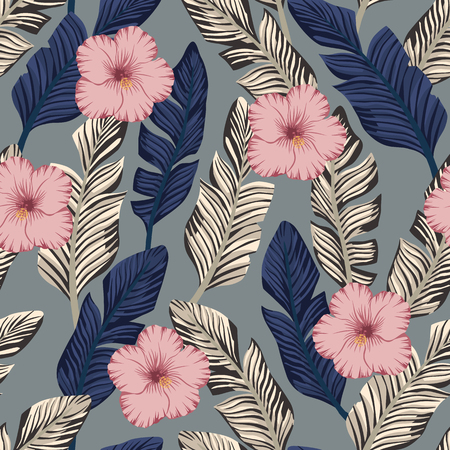 Tropical exotic composition of brown and blue banana leaves and pink hibiscus flowers seamless pattern on the gray vector backgorund