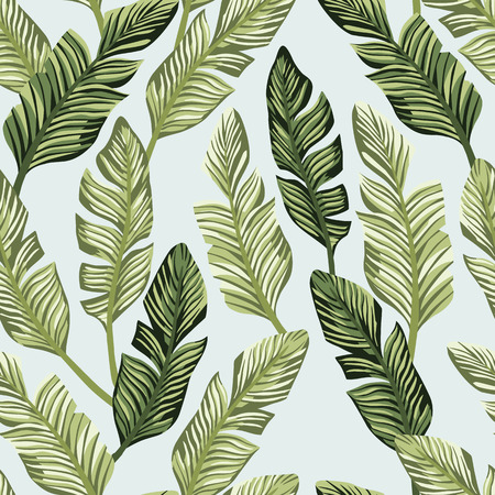 Botanical composition from tropical green banana leaves. Vector seamless pattern on the light blue backgorund Stockfoto - 122038824
