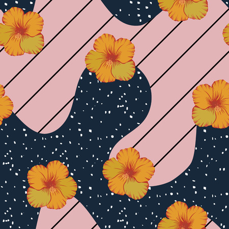 Beautiful tropical flowers yellow hibiscus seamless vector pattern on the black pink striped backgorund