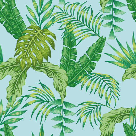 Exotic botanic vector green jungle seamless pattern on the blue background. Trendy art beach print wallpaper Stockfoto - 122038826