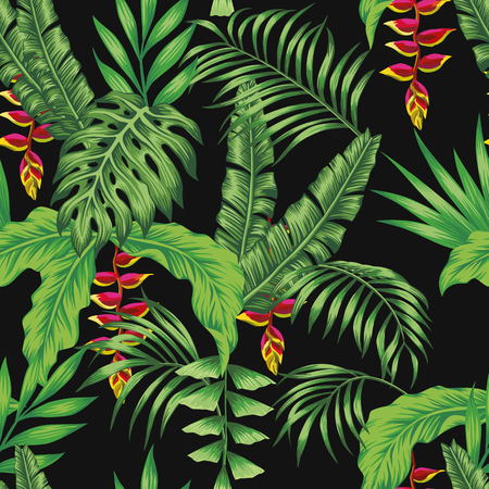 Tropical leaves and red flowers seamless cheerful pattern wallpaper on a black background. Vector beach wallpaper realistic style