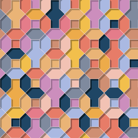 Abstract vector multicolor wallpaper flat 3D style geometrical shapes seamless repeat background.Summer colors