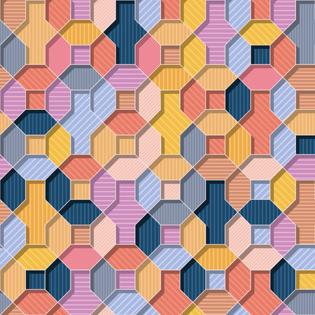 Abstract vector multicolor wallpaper flat 3D style geometrical shapes with lines inside seamless repeat background.Summer colors Banco de Imagens - 122038829
