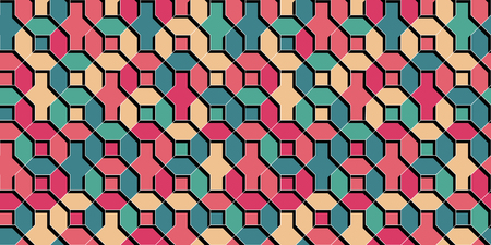 Abstract vector multicolor wallpaper flat 3D style geometrical shapes seamless repeat background.Summer trendy colors