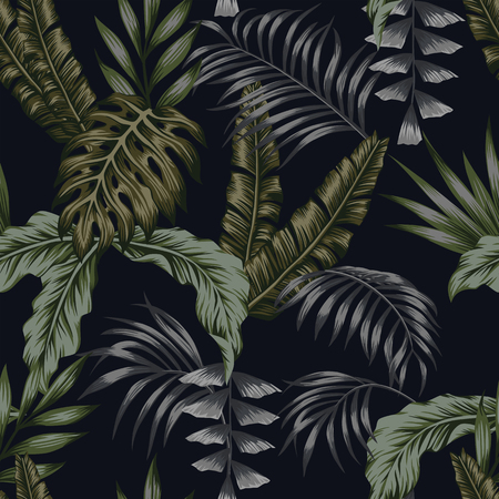 Exotic tropical green palm leaves dark night jungle background seamless vector pattern trendy composition beach wallpaper Banco de Imagens - 122038831
