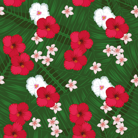 Tropical flowers seamless vector pattern background with exotic plants, plumeria leaves, jungle leaf, red and white hibiscus flowers. Botanical wallpaper illustration in the Hawaiian style